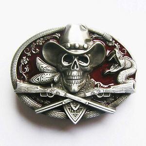 Western Skull Cowboy Buckle Rockabilly Totenkopf Biker Gürtelschnalle * 429