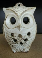 Ceramic Owl tea light candle holder, has loop for hanging 16cm