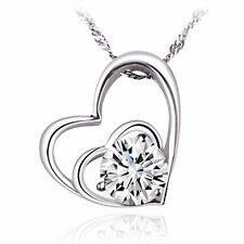 BLACK FRIDAY Sales - Double Love with Cubic Zirconia Silver Pendant Necklace