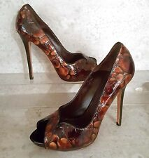 Alexander Mcqueen peep toe pumps tigers eye eu 39.5 us 9 M brand new