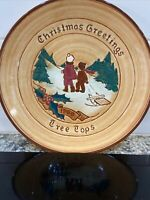 "Vintage Pennsbury Pottery Amish Christmas Tree Tops 8 1/8"" Plate Euc"