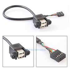 9 Pin Motherboard Header to 2 Ports USB 2.0 Female Extension Cable Adapter 30cm