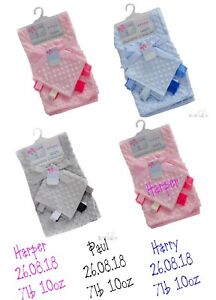 Personalised Baby Blanket & Taggy Comforter Gift Set Embroidered Name Soft Gift