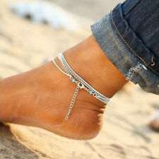 925 Silver Multi-layer Chain Anklet Bracelet Barefoot Sandal Beach Foot Jewelry