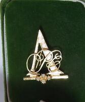 Lovely Vintage AVON Gold tone Monogram A Rhinestone Brooch Pin  3a 2