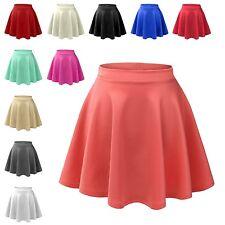 Womens Basic High Waisted Stretch Flared Pleated Plain Mini Skater Skirt NEWSK06