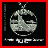 Rhode Island Cut Coin Jewelry Necklace 25¢ RI Quarter Ocean Sailing Sailboat