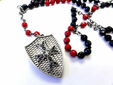 Silver  Cross Shield Rosary t With Black Diamonds by Sacred Angels