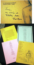 1990 GROUP OF 4 BROADSIDE POEMS SIGNED FRED BYRNES BACKSTREET EDITIONS