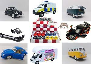 Official Pullback Die-Cast Cars VW Beetle Porsche Ice Cream White Van Police