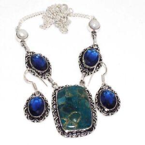 Copper Blue Apatite Blue Topaz 925 Silver Plated Necklace Earrings Set GW