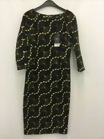 Next ladies dress 3/4 sleeve polyester/elastane black mix size 6 new