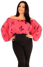 New Ladies Plus Size Neon Corset Prints Long Sleeve Gypsy Butterfly Tops 16-24