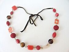 Necklace Shoe lace tie, chunky glass & mixed media stones beads, gold-tone chain