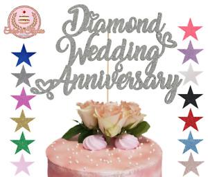 Diamond Wedding Anniversary Glitter Cake Topper 60th Wedding Romantic Hearts