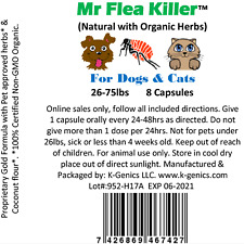 New listing 8 Cap All Natural Herbal Fast Flea Killer Control Dog Cat 26-75lb Guaranteed N3