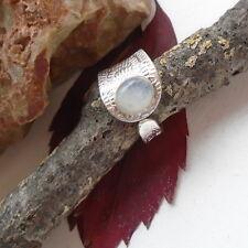 Mondstein, blau, weiß, oval, Designer Ring, Ø 18,0 mm, 925 Sterling Silber, neu