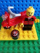 LEGO Bulk Minifig Racer Red Scooter Skeleton Helmet Moped Bike City Airport MINT