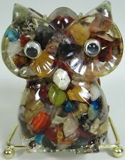 Lucite Owl Napkin Holder Agates Rocks Googly Eyes Colorful Cool Funky 1970s