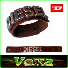 New DIESEL Luxury Genuine Leather Bracelet Dark Brown Wristband Mens Surfer BD24