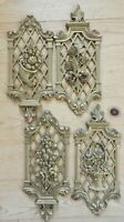 4 FRENCH FARMHOUSE Hollywood Regency GOLD Wall Plaques ROSES 1971 Dart Ind