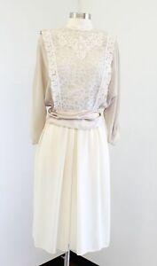 Vtg 80s Tan Cream Color Block Lace Shirt Dress Size 6P Modest Retro Tie Belt