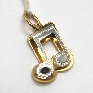 Yellow Gold Pendant White 750 18K, Musical Note, Music