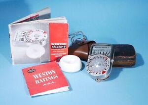 Weston Master V Exposure Light Meter + Invercone Cases & Instructions ** Working