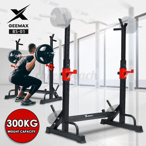 GEEMAX Adjustable Squat Rack Dip Stand Barbell Power Lifting Weight Bench Gym