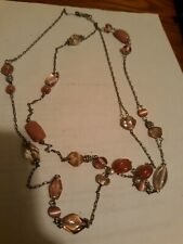 Light Pink Stone Necklace On Chain Long