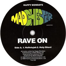 Happy Mondays Rave On record label vinyl sticker. Factory records. Madchester