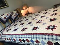 Rustic Patchwork Quilt SET King Size &Shams Red White & Blue Stars Country Lodge