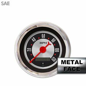 Speedo Ga. - SAE Amer Retro Rod II, Rd Clasic Nedl, Chrom Trm RingsStyle Kit