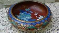 ANTIQUE CHINESE CLOISONNE ENAMEL LOTUS,PEONY FLOWERS AND BIRDS BOWL