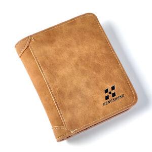 US Men's Leather Wallet Pocket ID Card Holder Billfold Slim Clutch Bifold Purse~