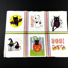 Happy Halloween Place Mats Bat Witch Spider Ghost Ivory Table Linens Set of 4