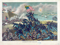 US Civil War Storming Of Battery Fort Wagner Painting Fine Art Real Canvas Print