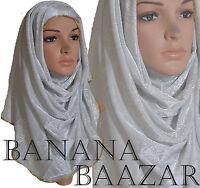 ♡♡Jersey Gold Satin Floral Shimmer Hijab♡♡ Maxi Glitter Flowers Scarf Wrap Abaya