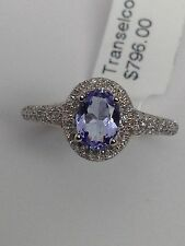 14K White Gold Oval Shape Natural Tanzanite and Pave Diamond Halo Ring Size 7