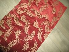 RED & TAN FERNWOOD FERNS BOTANICAL CHENILLE (1) TAILORED VALANCE 17 X 71