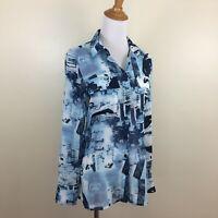 ALBERTO MAKALI Womens Small Blue Mix Print Sheer Long Sleeve Button Shirt