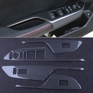 Carbon Fiber Style Window Lift Switch Button Panel Cover Fit For Honda Civic