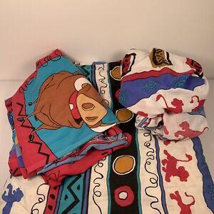 VTG 90's Disney Lion King Reversible Twin / Full Comforter + Fitted + Flat Sheet