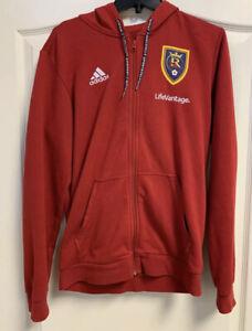 Real Salt Lake MLS Adidas Zip Up Hoodie w Stripes Jacket - Medium - MSRP $60