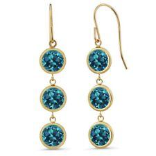 "3.3 Ct 3 Round London Blue Topaz Stones 14K Yellow Gold Bezel 1"" Dangle Earrings"