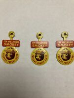3 Vintage US Forest Service Smokey Bear I'M HELPING SMOKEY tab tin badges pins