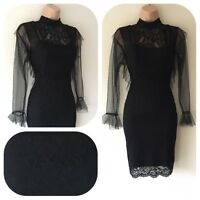 NWT Evening Frill Wiggle Pencil Black Bodycon Lace Dress Party 8 10 12 14