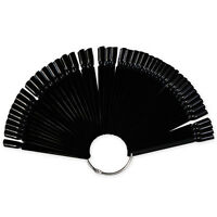 50X Black False Display Nail Art Fan Wheel Polish Practice Color Pop Tip Sticks