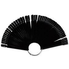 50 Black False Display Nail Art Fan Wheel Polish Practice Color Pop Tip Sticks