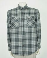Duluth Trading Co. Free Swingin' Gray Plaid Flannel Shirt Mens Large